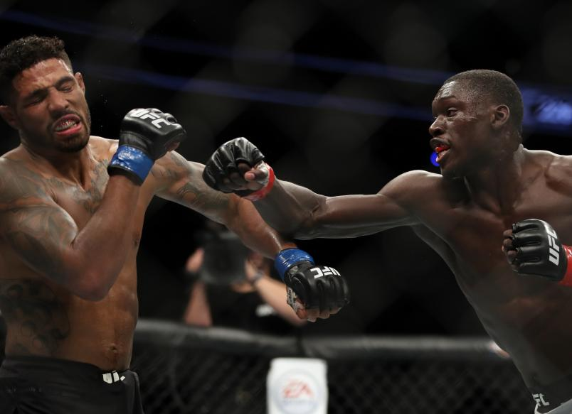 LAS VEGAS, NV - JULY 07: Curtis Millender punches Max Griffin in their welterweight fight during the UFC 226 event inside T-Mobile Arena on July 7, 2018 in Las Vegas, Nevada. (Photo by Christian Petersen/Zuffa LLC/Zuffa LLC via Getty Images)