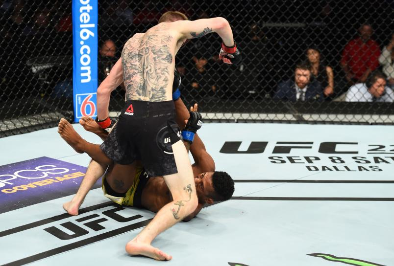 LINCOLN, NE - AUGUST 25: (L-R) Cory Sandhagen punches Iuri Alcantara of Brazil in their bantamweight fight during the UFC Fight Night event at Pinnacle Bank Arena on August 25, 2018 in Lincoln, Nebraska. (Photo by Josh Hedges/Zuffa LLC/Zuffa LLC via Getty Images)