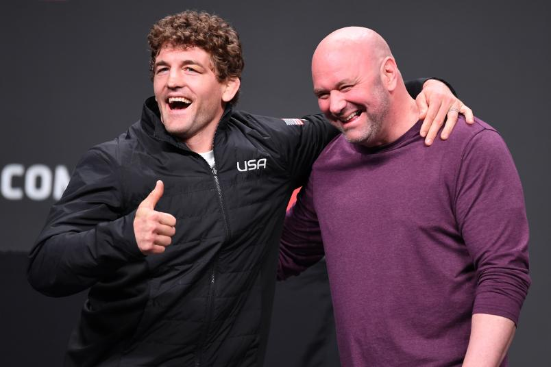 ATLANTA, GA - APRIL 12: (L-R) Ben Askren and UFC President Dana White pose for photos during the UFC Seasonal Press Conference inside State Farm Arena on April 12, 2019 in Atlanta, Georgia. (Photo by Josh Hedges/Zuffa LLC/Zuffa LLC via Getty Images)