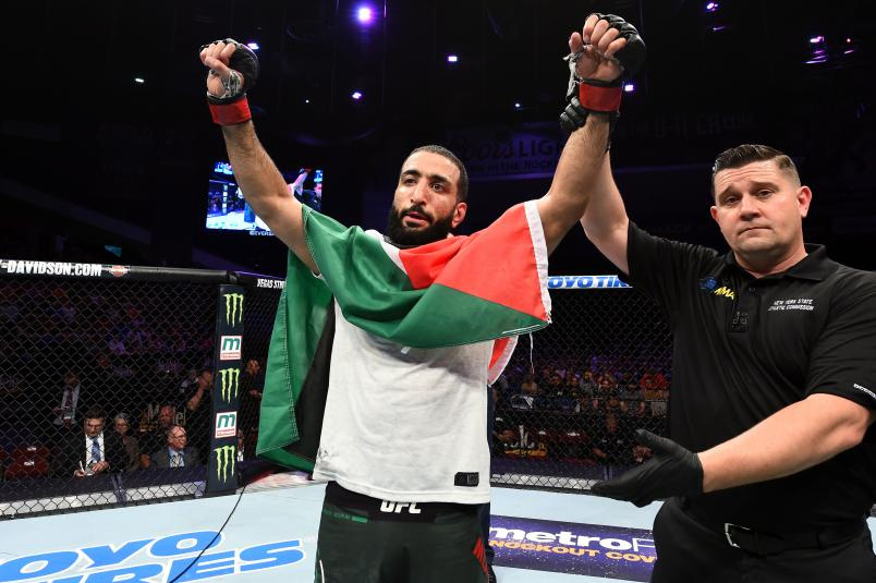 UTICA, NY - JUNE 01: Belal Muhammad celebrates after defeating Chance Rencountre in their welterweight fight during the UFC Fight Night event at the Adirondack Bank Center on June 1, 2018 in Utica, New York. (Photo by Josh Hedges/Zuffa LLC/Zuffa LLC via Getty Images)