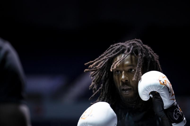 ROCHESTER, NY - MAY 15: Desmond Green participates in the UFC Fight Night Dos Anjos v Lee: Open Workouts at Blue Cross Arena on May 15, 2019 in Rochester, New York. (Photo by Brett Carlsen/Zuffa LLC/Zuffa LLC via Getty Images)