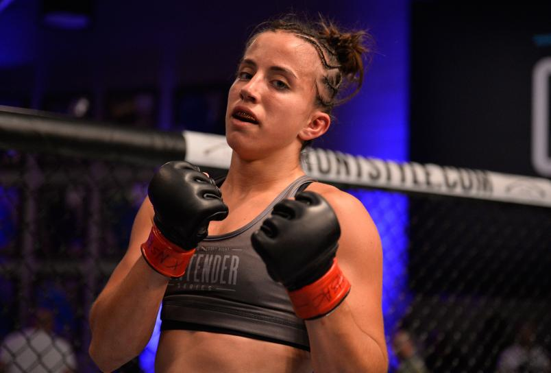 LAS VEGAS, NV - JULY 17: Maycee Barber celebrates her victory over Jamie Colleen in their womens strawweight fight during Dana White's Tuesday Night Contender Series at the TUF Gym on July 17, 2018 in Las Vegas, Nevada. (Photo by Chris Unger/DWTNCS LLC)