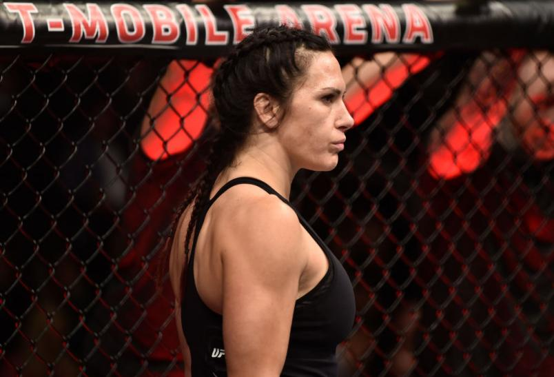 LAS VEGAS, NV - MARCH 03:   Cat Zingano prepares to fight Ketlen Vieira of Brazil in their women's bantamweight bout during the UFC 222 event inside T-Mobile Arena on March 3, 2018 in Las Vegas, Nevada. (Photo by Jeff Bottari/Zuffa LLC)