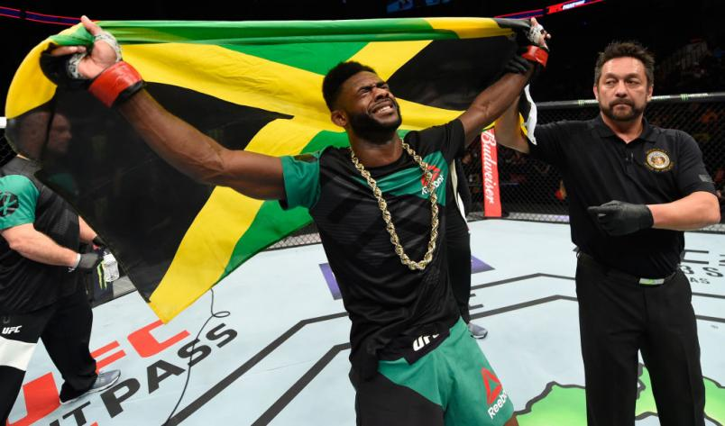 KANSAS CITY, MO - APRIL 15:  Aljamain Sterling celebrates his victory over Augusto Mendes of Brazil in their bantamweight fight during the UFC Fight Night event at Sprint Center on April 15, 2017 in Kansas City, Missouri. (Photo by Josh Hedges/Zuffa LLC/Z