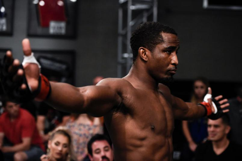 LAS VEGAS, NV - JULY 25:   Geoff Neal prepares to enter the octagon prior to his middleweight bout with Chase Walden during Dana White's Tuesday Night Contender Series at the TUF Gym on July 25, 2017 in Las Vegas, Nevada. (Photo by Brandon Magnus/DWTNCS)