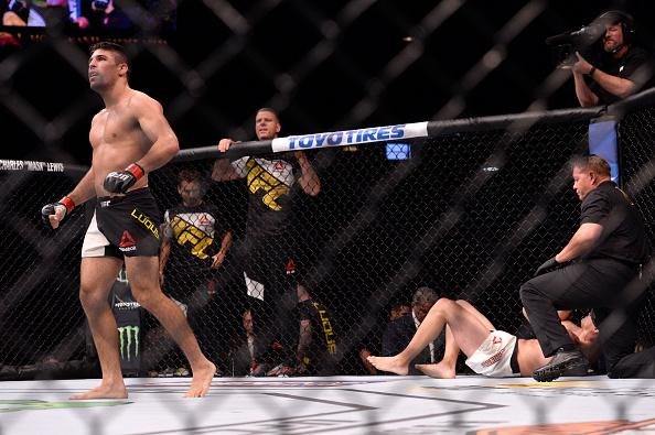 LAS VEGAS, NV - JULY 07:   Vicente Luque celebrates after his submission victory over Alvaro Herrera of Mexico in their welterweight bout during the UFC Fight Night event inside the MGM Grand Garden Arena on July 7, 2016 in Las Vegas, Nevada. (Photo by Br