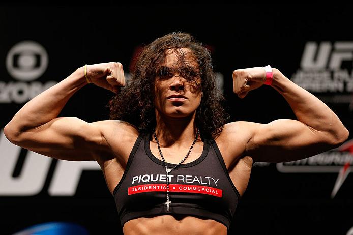 RIO DE JANEIRO, BRAZIL - AUGUST 02:  Amanda Nunes weighs in during the UFC 163 weigh-in at HSBC Arena on August 2, 2013 in Rio de Janeiro, Brazil. (Photo by Josh Hedges/Zuffa LLC/Zuffa LLC via Getty Images)