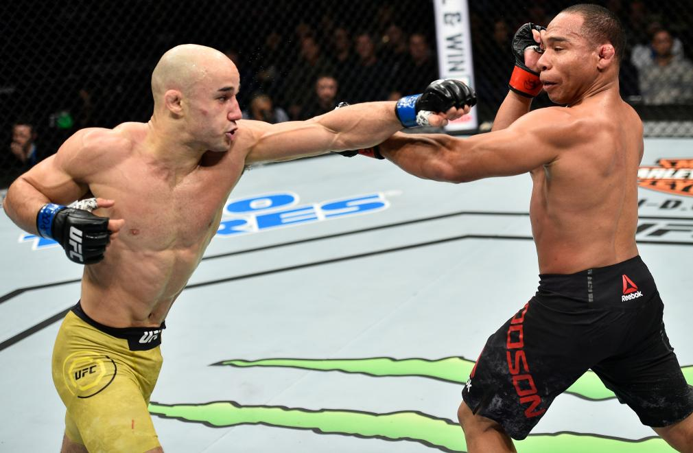 NORFOLK, VA - NOVEMBER 11: (L-R) Marlon Moraes of Brazil punches John Dodson in their bantamweight bout during the UFC Fight Night event inside the Ted Constant Convention Center on November 11, 2017 in Norfolk, Virginia. (Photo by Brandon Magnus/Zuffa LLC/Zuffa LLC via Getty Images)
