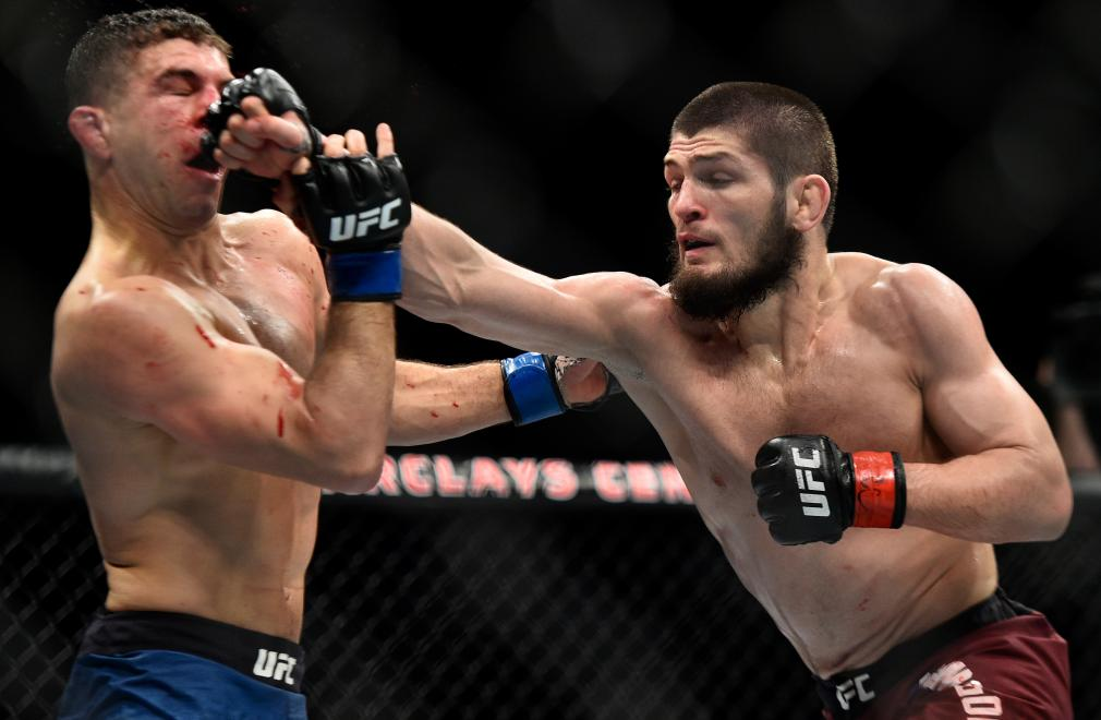 BROOKLYN, NEW YORK - APRIL 07: (R-L) Khabib Nurmagomedov of Russia punches Al Iaquinta in their lightweight title bout during the UFC 223 event inside Barclays Center on April 7, 2018 in Brooklyn, New York. (Photo by Brandon Magnus/Zuffa LLC/Zuffa LLC via Getty Images)