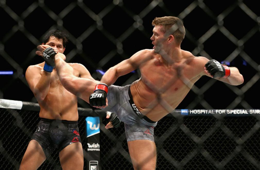 NEW YORK, NY - NOVEMBER 04:  Stephen Thompson kicks Jorge Masvidal in their welterweight bout during the UFC 217 event at Madison Square Garden on November 4, 2017 in New York City.  (Photo by Mike Stobe/Getty Images)