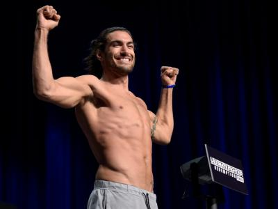 LAS VEGAS, NV - JULY 06: Elias Theodorou of Canada poses on the scale during the UFC weigh-in at the Park Theater on July 6, 2017 in Las Vegas, Nevada. (Photo by Brandon Magnus/Zuffa LLC/Zuffa LLC via Getty Images)