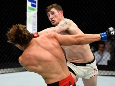 ROTTERDAM, NETHERLANDS - SEPTEMBER 02:  (R-L) Darren Till of England punches Bojan Velickovic of Serbia in their welterweight bout during the UFC Fight Night event at the Rotterdam Ahoy on September 2, 2017 in Rotterdam, Netherlands. (Photo by Josh Hedges/Zuffa LLC via Getty Images)