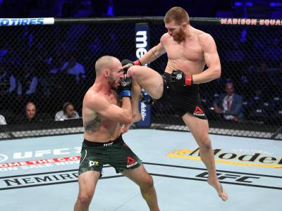 NEW YORK, NY - NOVEMBER 03: (R-L) Matt Frevola attempts a flying knee against Lando Vannata in their lightweight bout during the UFC 230 event inside Madison Square Garden on November 3, 2018 in New York, New York. (Photo by Jeff Bottari/Zuffa LLC via Getty Images)