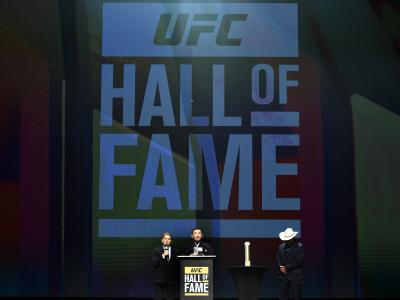 LAS VEGAS, NV - JULY 06: Kazushi Sakuraba speaks to the fans during the UFC Hall of Fame 2017 Induction Ceremony at the Park Theater on July 6, 2017 in Las Vegas, Nevada. (Photo by Brandon Magnus/Zuffa LLC/Zuffa LLC via Getty Images)