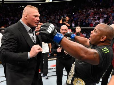 LAS VEGAS, NV - JULY 07: Daniel Cormier confronts Brock Lesnar after his UFC heavyweight championship fight during the UFC 226 event inside T-Mobile Arena on July 7, 2018 in Las Vegas, Nevada. (Photo by Josh Hedges/Zuffa LLC/Zuffa LLC via Getty Images)