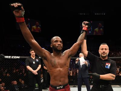 Leon Edwards of England reacts after his victory over Gunnar Nelson of Iceland in their welterweight bout during the UFC Fight Night event at The O2 Arena on March 16, 2019 in London, England. (Photo by Jeff Bottari/Zuffa LLC/Zuffa LLC via Getty Images)