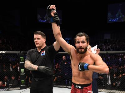 Jorge Masvidal reacts after his knockout victory over Darren Till of England in their welterweight bout during the UFC Fight Night event at The O2 Arena on March 16, 2019 in London, England. (Photo by Jeff Bottari/Zuffa LLC/Zuffa LLC via Getty Images)