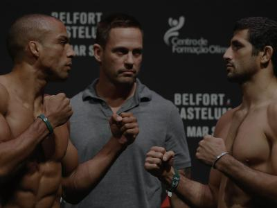 FORTALEZA, BRAZIL - MARCH 10: Opponents Edson Barboza (L) of Brazil and Beneil Dariush of Iran face off during the UFC Fight Night weigh-in at CFO - Centro de Formaco Olmpica on March 10, 2017 in Fortaleza, Brazil. (Photo by Buda Mendes/Zuffa LLC/Zuffa LLC via Getty Images)