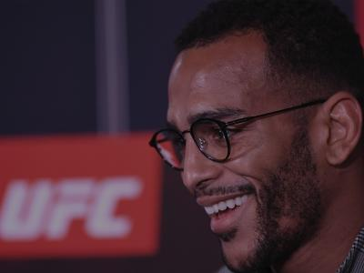 LONDON, ENGLAND - MARCH 14: Danny Roberts of United Kingdom interacts with the media during the UFC Fight Night Ultimate Media Day at Glaziers Hall on March 14, 2019 in London, England. (Photo by Jeff Bottari/Zuffa LLC/Zuffa LLC via Getty Images)