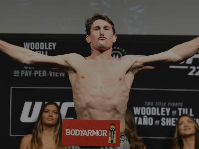 DALLAS, TX - SEPTEMBER 07: Darren Till of England poses on the scale during the UFC 228 weigh-in at American Airlines Center on September 7, 2018 in Dallas, Texas. (Photo by Josh Hedges/Zuffa LLC/Zuffa LLC via Getty Images)