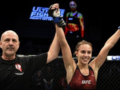 LAS VEGAS, NV - NOVEMBER 30: Antonina Shevchenko of Kyrgyzstan celebrates after her victory over Ji Yeon Kim during The Ultimate Fighter Finale event inside The Pearl concert theater at Palms Casino Resort on November 30, 2018 in Las Vegas, Nevada. (Photo by Chris Unger/Zuffa LLC/Zuffa LLC via Getty Images)