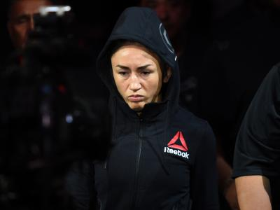 DALLAS, TX - SEPTEMBER 08: Carla Esparza enters the arena prior to facing Tatiana Suarez in their women's strawweight fight during the UFC 228 event at American Airlines Center on September 8, 2018 in Dallas, Texas. (Photo by Josh Hedges/Zuffa LLC/Zuffa LLC via Getty Images)
