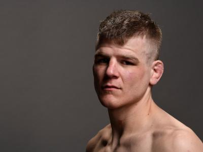 Grant Dawson poses for a post fight portrait backstage during the UFC Fight Night event at Intrust Bank Arena on March 9, 2019 in the Wichita, Kansas. (Photo by Mike Roach/Zuffa LLC)