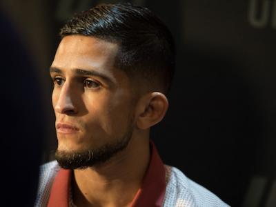LAS VEGAS, NEVADA - OCTOBER 04:  Sergio Pettis interacts with media during the UFC 229 Ultimate Media Day at the Park MGM Las Vegas on October 4, 2018 in Las Vegas, Nevada. (Photo by Chris Unger/Zuffa LLC via Getty Images)