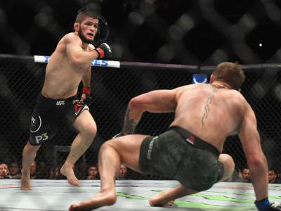 LAS VEGAS, NV - OCTOBER 06:  Khabib Nurmagomedov of Russia (L) chases down Conor McGregor of Ireland in their UFC lightweight championship bout during the UFC 229 event inside T-Mobile Arena on October 6, 2018 in Las Vegas, Nevada.  (Photo by Harry How/Ge