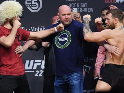 LAS VEGAS, NV - OCTOBER 05:  (L-R) Opponents Khabib Nurmagomedov of Russia and Conor McGregor of Ireland face off during the UFC 229 weigh-in inside T-Mobile Arena on October 5, 2018 in Las Vegas, Nevada. (Photo by Josh Hedges/Zuffa LLC/Zuffa LLC via Gett