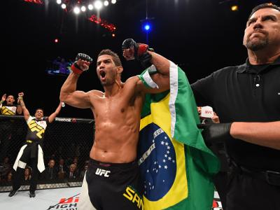 LAS VEGAS, NV - DECEMBER 12:  Leonardo Santos of Brazil reacts to his victory over Kevin Lee in their lightweight bout during the UFC 194 event inside MGM Grand Garden Arena on December 12, 2015 in Las Vegas, Nevada.  (Photo by Josh Hedges/Zuffa LLC/Zuffa