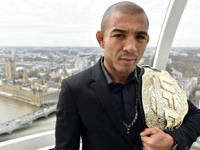 LONDON, ENGLAND - MARCH 30:  UFC Featherweight Champion Jose Aldo of Brazil visits The London Eye during the UFC 189 World Championship Press Tour on March 30, 2015 in London, England. (Photo by Jeff Bottari/Zuffa LLC/Zuffa LLC via Getty Images)