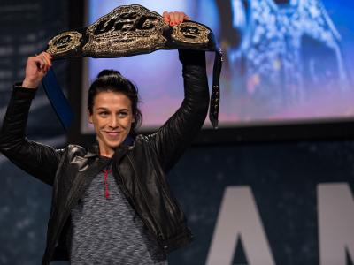NEW YORK, NY - SEPTEMBER 27: UFC women's strawweight champion Joanna Jedrzejczyk poses for a picture during the UFC 205 press event at Madison Square Garden on September 27, 2016 in New York City. (Photo by Brandon Magnus/Zuffa LLC/Zuffa LLC via Getty Ima