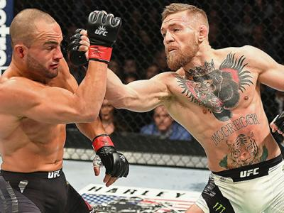NEW YORK, NY - NOVEMBER 12:  Eddie Alvarez of the United States (left) fights against Conor McGregor of Ireland in their lightweight championship bout during the UFC 205 event at Madison Square Garden on November 12, 2016 in New York City.  (Photo by Jeff