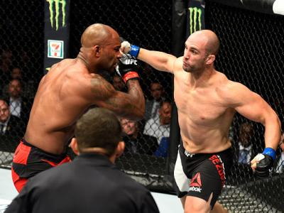 ANAHEIM, CA - JULY 29:  Volkan Oezdemir of Switzerland punches Jimi Manuwa in their light heavyweight bout during the UFC 214 event at Honda Center on July 29, 2017 in Anaheim, California.  (Photo by Josh Hedges/Zuffa LLC/Zuffa LLC via Getty Images)