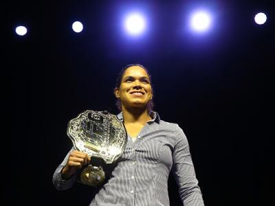 NEW YORK, NY - APRIL 06:  Amanda Nunes poses for photos during the UFC press conference inside at Barclays Center on April 6, 2018 in New York City.  (Photo by Mike Stobe/Zuffa LLC/Zuffa LLC via Getty Images)
