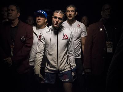 Brian Ortega waiting to walk out at UFC 222 in Las Vegas.
