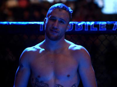 LAS VEGAS, NV - JULY 07:  Justin Gaethje enters the Octagon before facing Michael Johnson after their lightweight bout during The Ultimate Fighter Finale at T-Mobile Arena on July 7, 2017 in Las Vegas, Nevada.  (Photo by Brandon Magnus/Zuffa LLC)