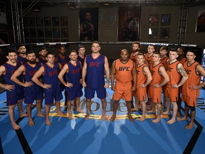 LAS VEGAS, NV - FEBRUARY 01:  Team Miocic (L) and Team Cormier pose for a portrait during the filming of The Ultimate Fighter: Undefeated at the UFC TUF Gym on February 1, 2017 in Las Vegas, Nevada. (Photo by Brandon Magnus/Zuffa LLC/Zuffa LLC via Getty I
