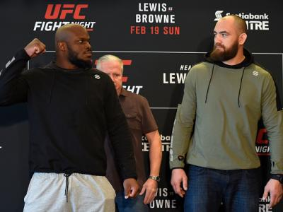 HALIFAX, NS - FEBRUARY 17:  (L-R) Opponents Derrick Lewis and Travis Browne face off during the UFC Ultimate Media Day at the Halifax Marriott Harbourfront on February 17, 2017 in Halifax, Nova Scotia, Canada. (Photo by Josh Hedges/Zuffa LLC/Zuffa LLC via