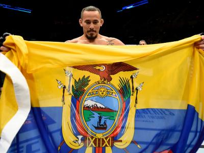 UNIONDALE, NY - JULY 22:  Marlon Vera of Ecuador celebrates after submitting Brian Kelleher in their bantamweight bout during the UFC Fight Night event inside the Nassau Veterans Memorial Coliseum on July 22, 2017 in Uniondale, New York. (Photo by Josh He