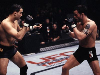UNCASVILLE, CT - JANUARY 11:  (L-R) BJ Penn and Jens Pulver battle during UFC 35 at the Mohegan Sun Arena on January 11, 2002 in Uncasville, Connecticut.  (Photo by Susumu Nagao/Zuffa LLC/Zuffa LLC via Getty Images)