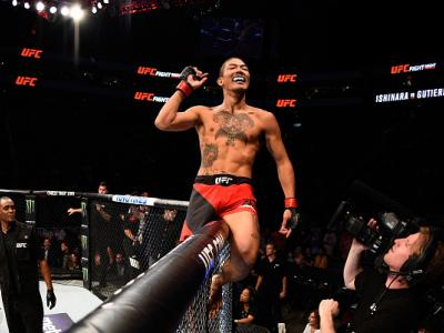 SALT LAKE CITY, UT - AUGUST 06:  Teruto Ishihara of Japan celebrates his victory over Horacio Gutierrez of Mexico in their featherweight bout during the UFC Fight Night event at Vivint Smart Home Arena on August 6, 2016 in Salt Lake City, Utah. (Photo by