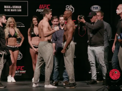 Maia vs Kamaru Usman face off weigh in screen grab