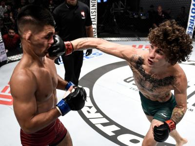 LAS VEGAS, NV - JULY 18: Sean O'Malley in their featherweight bout during Dana White's Tuesday Night Contender Series at the TUF Gym on July 18, 2017 in Las Vegas, Nevada. (Photo by Brandon Magnus/DWTNCS)