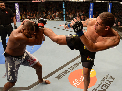 LAS VEGAS, NV - FEBRUARY 02:  (R-L) Antonio Silva kicks Alistair Overeem during their heavyweight fight at UFC 156 on February 2, 2013 at the Mandalay Bay Events Center in Las Vegas, Nevada.  (Photo by Donald Miralle/Zuffa LLC/Zuffa LLC via Getty Images)