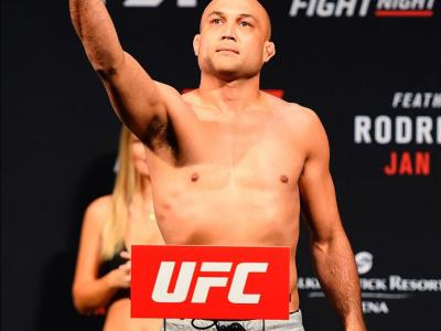 PHOENIX, ARIZONA - JANUARY 14:  BJ Penn steps on the scale during the UFC Fight Night weigh-in at the Talking Stick Resort Arena on January 14, 2017 in Phoenix, Arizona. (Photo by Jeff Bottari/Zuffa LLC/Zuffa LLC via Getty Images)