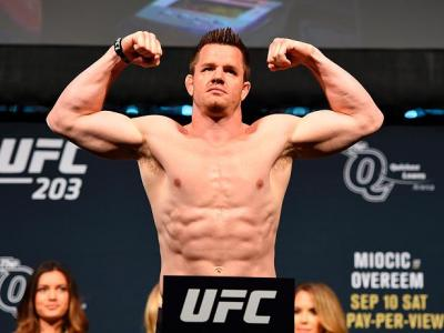 CLEVELAND, OH - SEPTEMBER 09:  CB Dollaway of the United States steps on the scale during the UFC 203 Weigh-in at Quicken Loans Arena on September 9, 2016 in Cleveland, Ohio. (Photo by Josh Hedges/Zuffa LLC/Zuffa LLC via Getty Images)