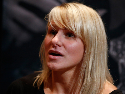 LAS VEGAS, NV - JULY 03:  The Ultimate Fighter season 20 cast member Justine Kish interacts with media during the UFC Ultimate Media Day at the Mandalay Bay Resort and Casino on July 3, 2014 in Las Vegas, Nevada.  (Photo by Josh Hedges/Zuffa LLC/Zuffa LLC